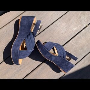 JCREW Blue Platform Sandals